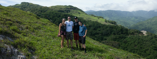 The kids - Montevered is up the mountain behind them