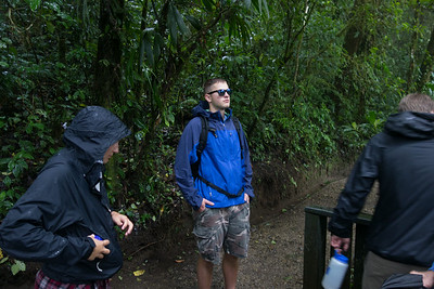 Monteverde Cloud Forest living up to its name - continuous rain -  Nick, Scott and Mackenzie