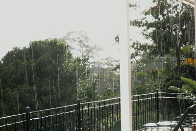 Raining outside the pool while we were swimming