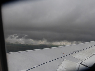 Flying into Denver under storm clouds