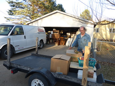 Moving things into the double garage off the alley