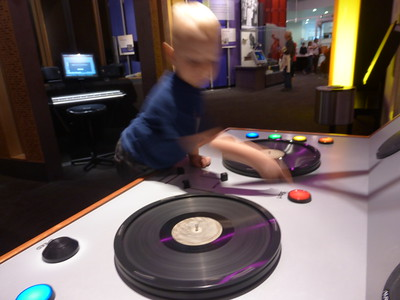 Otto's very favorite thing at the Discovery Center - to be a DJ.