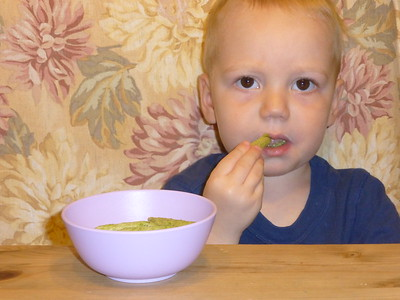 """Otto and a favorite snack - """"snack peas"""""""
