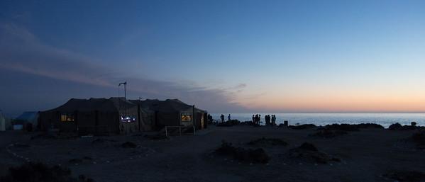 Main meeting tent at sunset