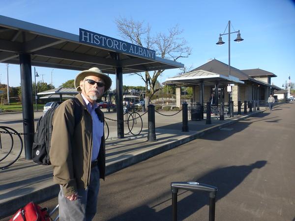 John at Albany Station at start of trip