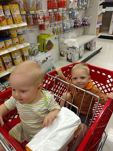 """Finn and Otto """"helping"""" us shop"""