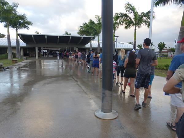 Waiting in line to enter Pearl Harbor memorial