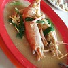 Prawn noodle soup for my lunch. This prawn is double the size of my palm!