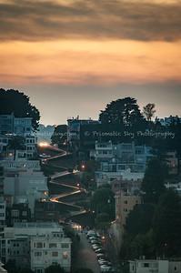 Lombard street sunset