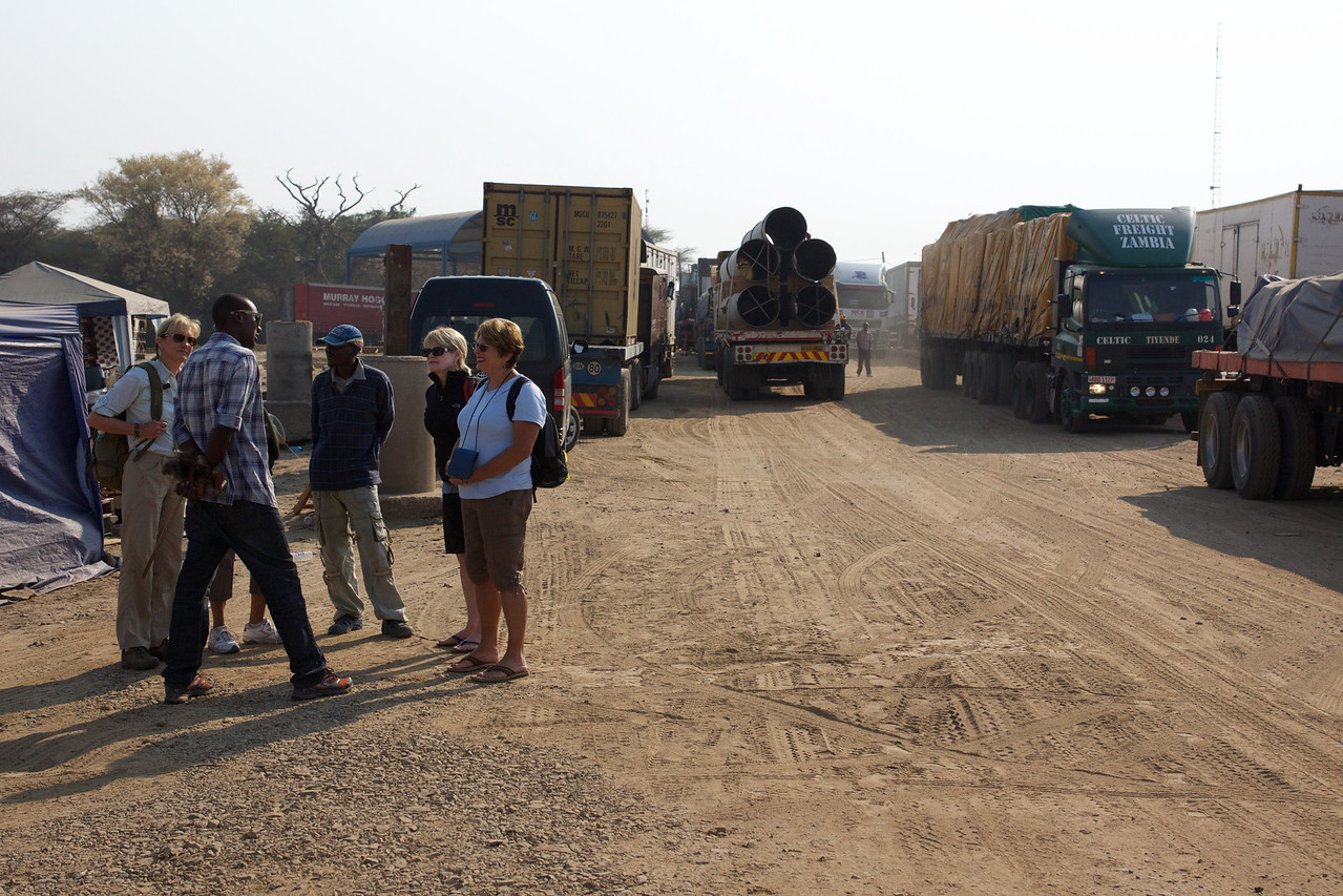 Waiting to cross from Zambia to Botswana at river crossing