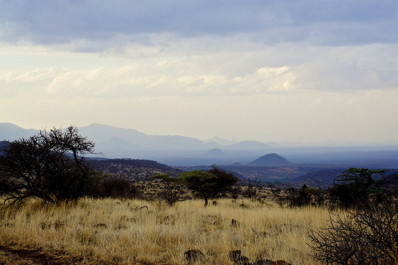 Mountains in the African haze.
