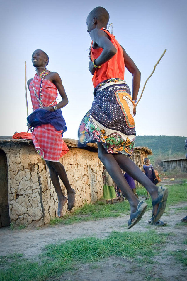 Jumping is a big part of the Masai men dancing