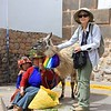 Karen with llama and two native women