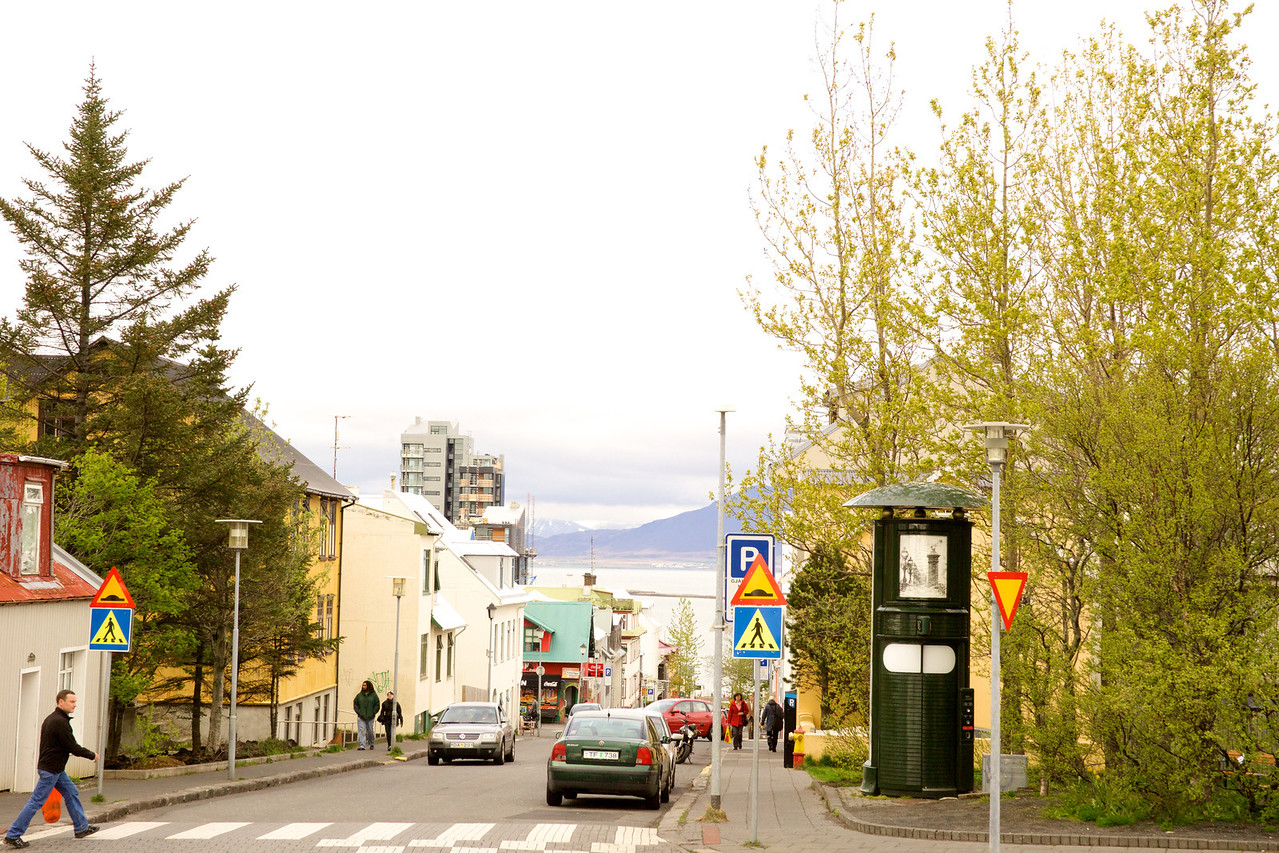 Street Scene Reykjavik harbor and mountains in background