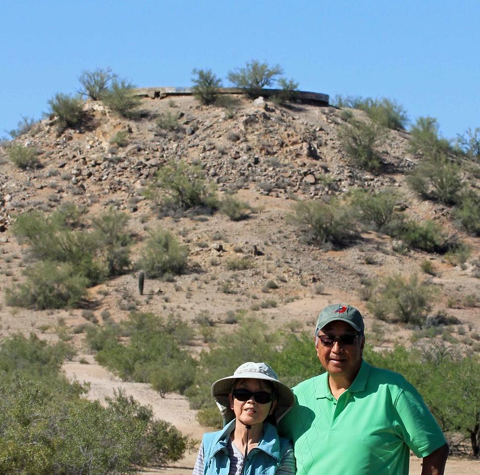 Karen and Shiz at base of water Tower.
