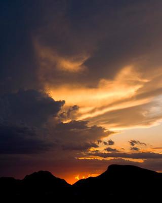 Monsoon Sunset over Tucson Mountains, Arizona