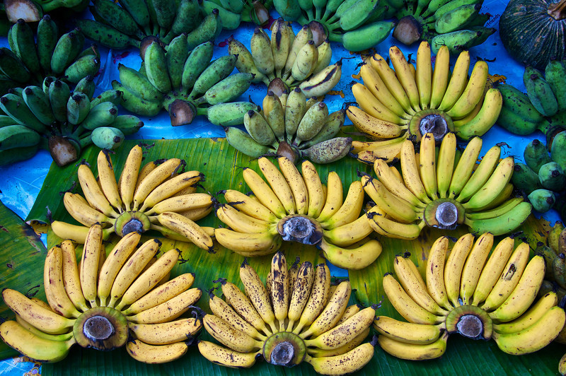 Bananas on display railroad roadway market = Samut Songkhram - southwest of Bangkok