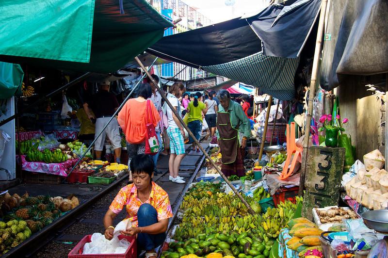 Market along railroad Samut Songkhram - southwest of Bangkok