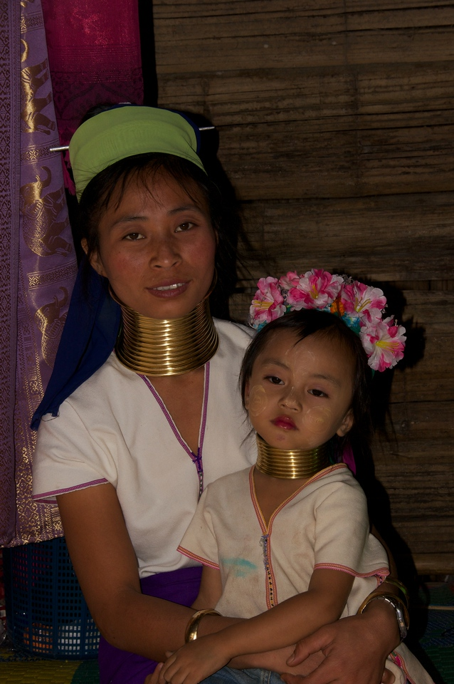 Mother and daughter with neck rings