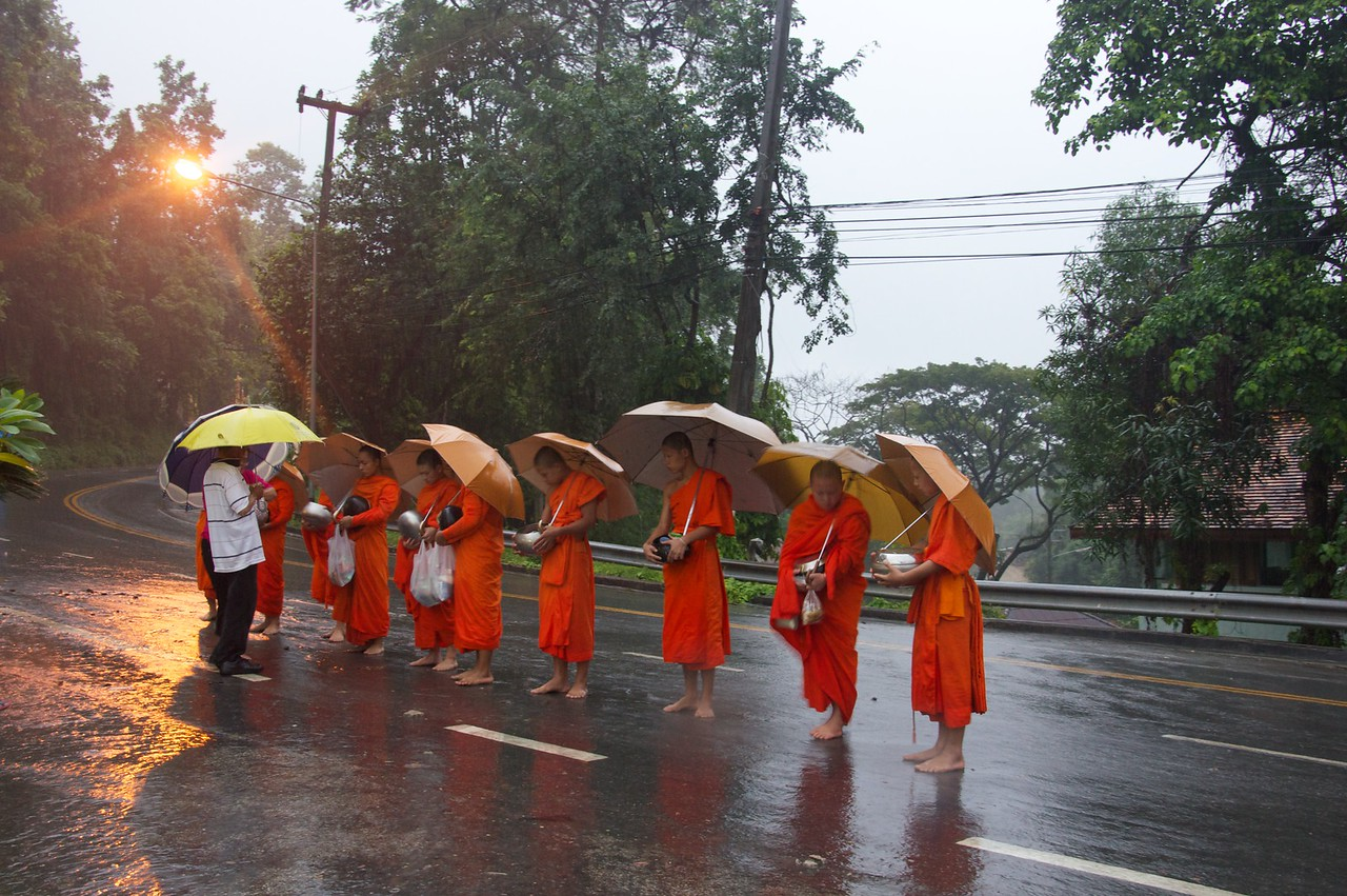 Monks out on a rainy morning