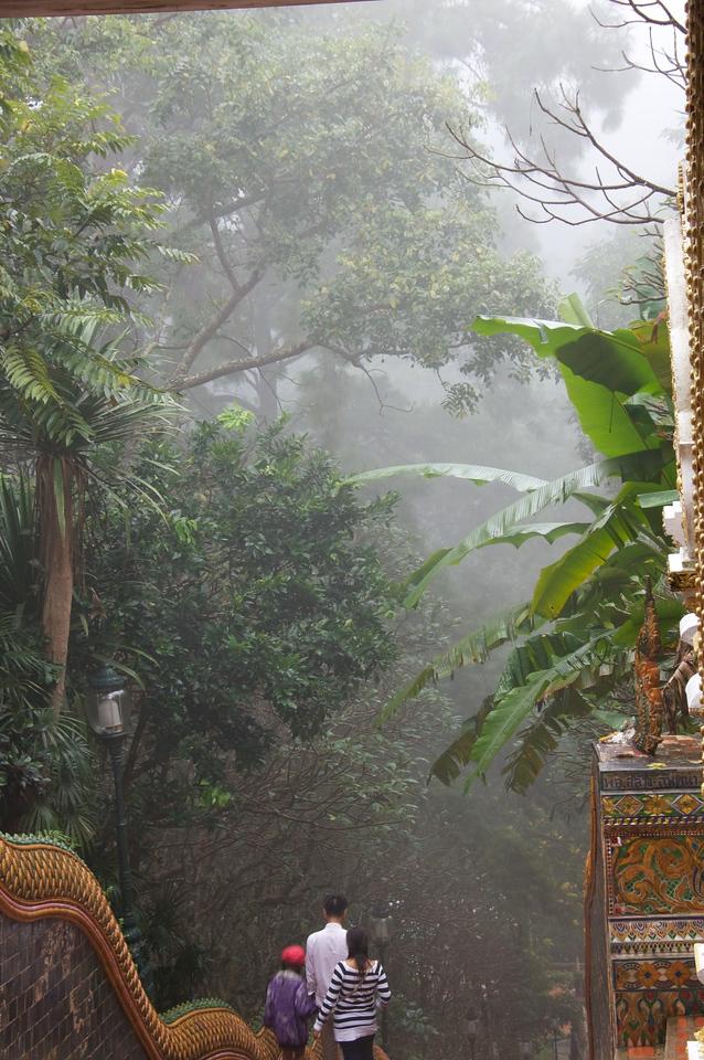 temple in mist
