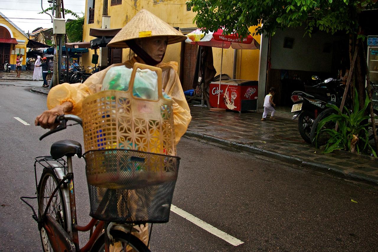 Bike transport in the rain.
