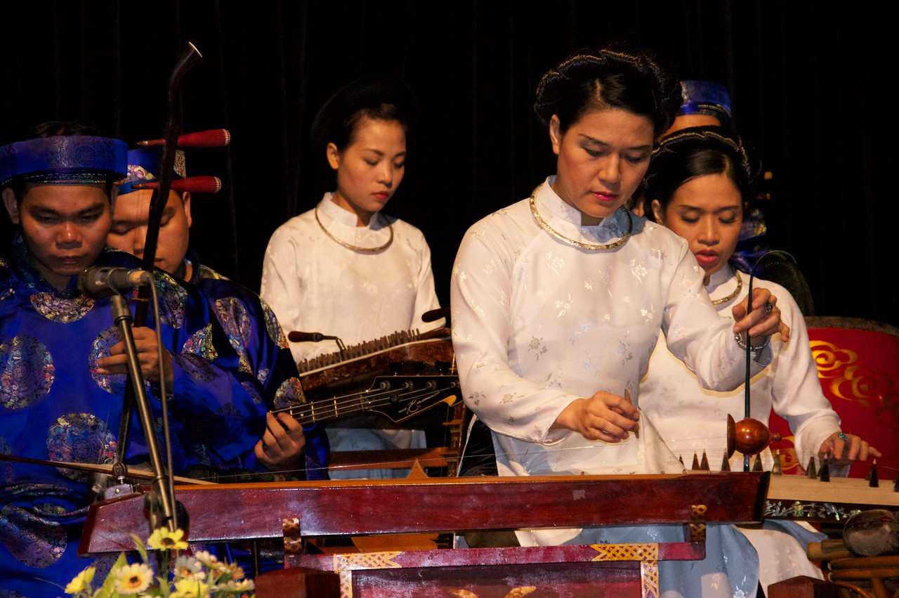 Musicians at the water puppet show Hanoi