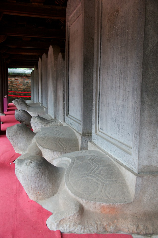 Temple of literature - the turtles hold plaques with the names of distinguished graduates.