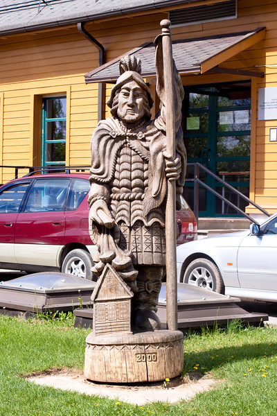 Wooden statue in form of warrior