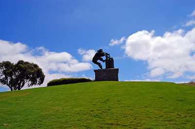 A sculpture overlooking Napa Valley at a vista point.