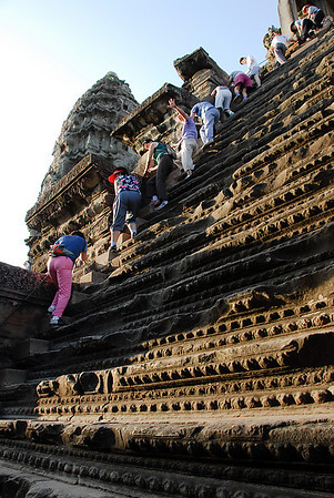 "This is the steep stairs with ""support"" to come down from the center part of the temple."