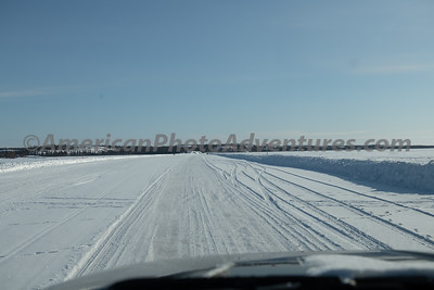 Driving on Great Slave Lake