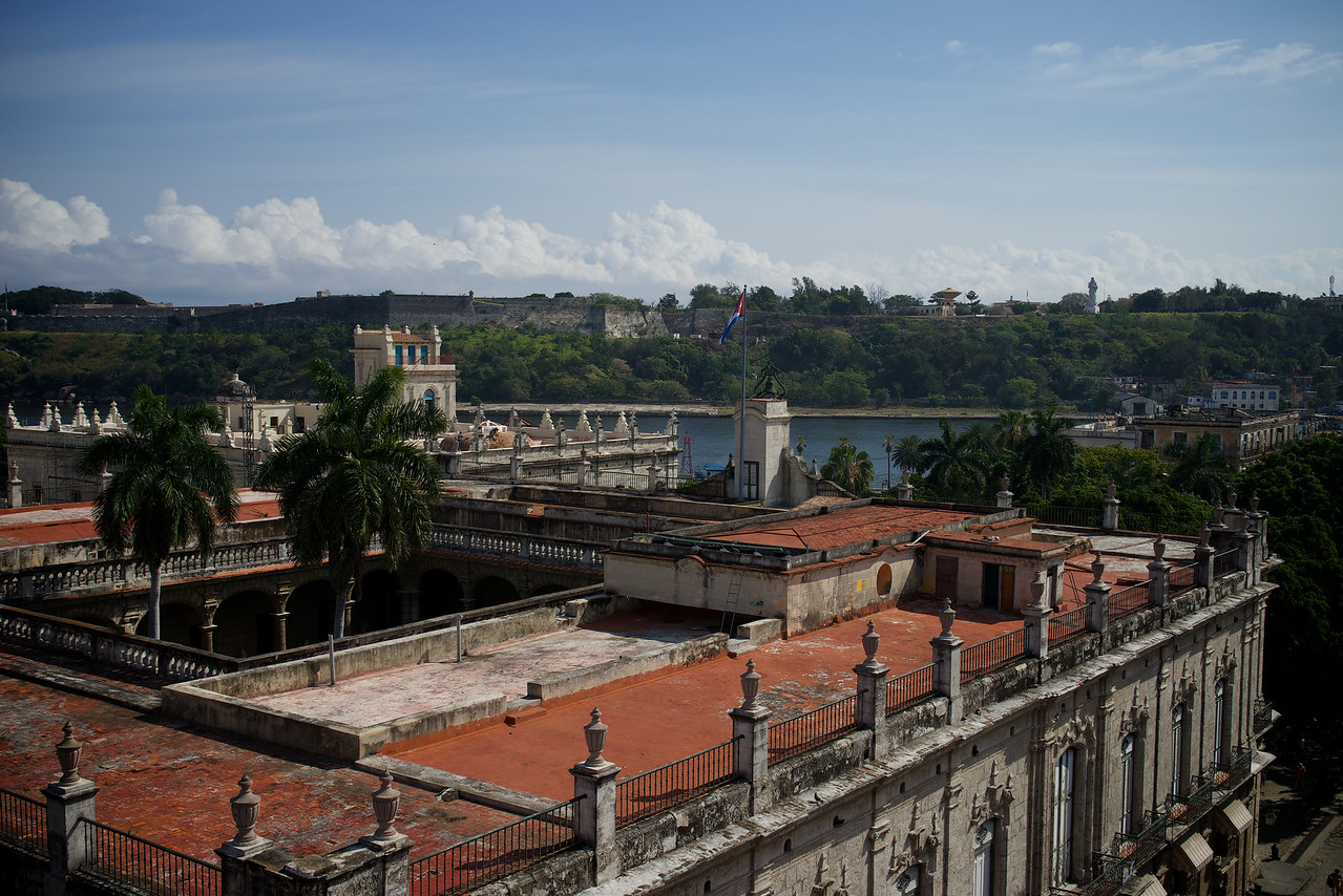 Looking across havana harbor entrance from roof of Hotel Ambos Mundos
