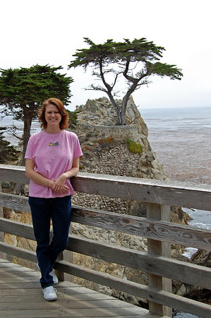 Lisa at the The Lone Cypress of the 17 mile drive.