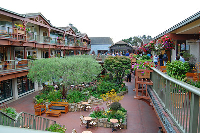 A section of one of the beautifully landscaped shopping areas of Carmel.