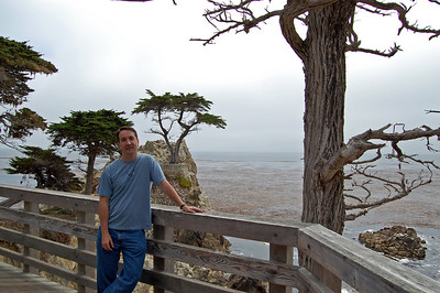 Pat at The Lone Cypress of the 17 mile drive.