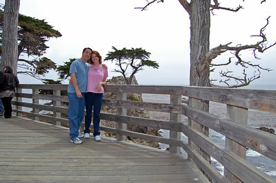 Lisa and Pat at the Lone Cypress on the 17 mile drive.
