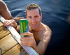 Ron enjoying beer in the water