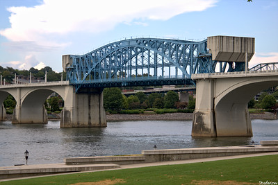 The Market Street (John Ross) Bridge with its steel truss center  draw  span --  a double-leaf Scherzer rolling lift  bascule -- showing  off its huge concrete counterweights..  Chattanooga, TN, 07/13/2019 This work is licensed under a Creative Commons Attribution- NonCommercial 4.0 International License