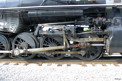 Tennessee Valley Railroad Museum      Grand Junction The Southern Valve Gear of 2-8-0 #630 built for the Southern  railway in 1904.   Compare the position of the die-block in its  slot with that in the previous photo.. Chattanooga, TN, 07/13/2019 This work is licensed under a Creative Commons Attribution- NonCommercial 4.0 International License