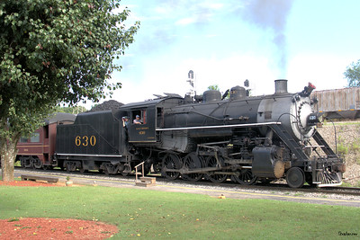 Tennessee Valley Railroad Museum 2-8-0 #630 built for the Southern railway in 1904 heads out of Grand Junction to turn on the wye. Chattanooga, TN, 07/13/2019 This work is licensed under a Creative Commons Attribution- NonCommercial 4.0 International License