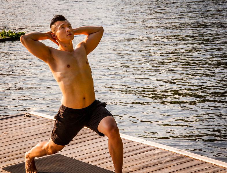 Yoga by the water at Lac Ste Marie
