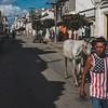 A Cuban wearing an American flag shirt walks a horse in the streets of Cienfuegos, Cuba.