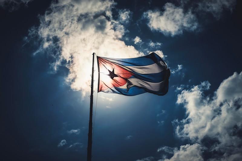 The Cuban flag flies proudly above Havana's Fortaleza de San Carlos de la Cabaña.