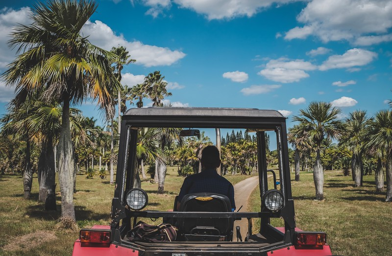 A tractor is used to tow the wagon carrying visitors through Cuba's National Botanical Gardens, outside of Havana.