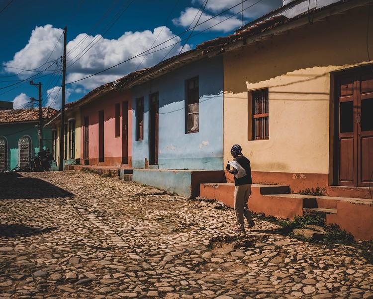 A Cuban woman walks in the streets of Trinidad, Cuba.