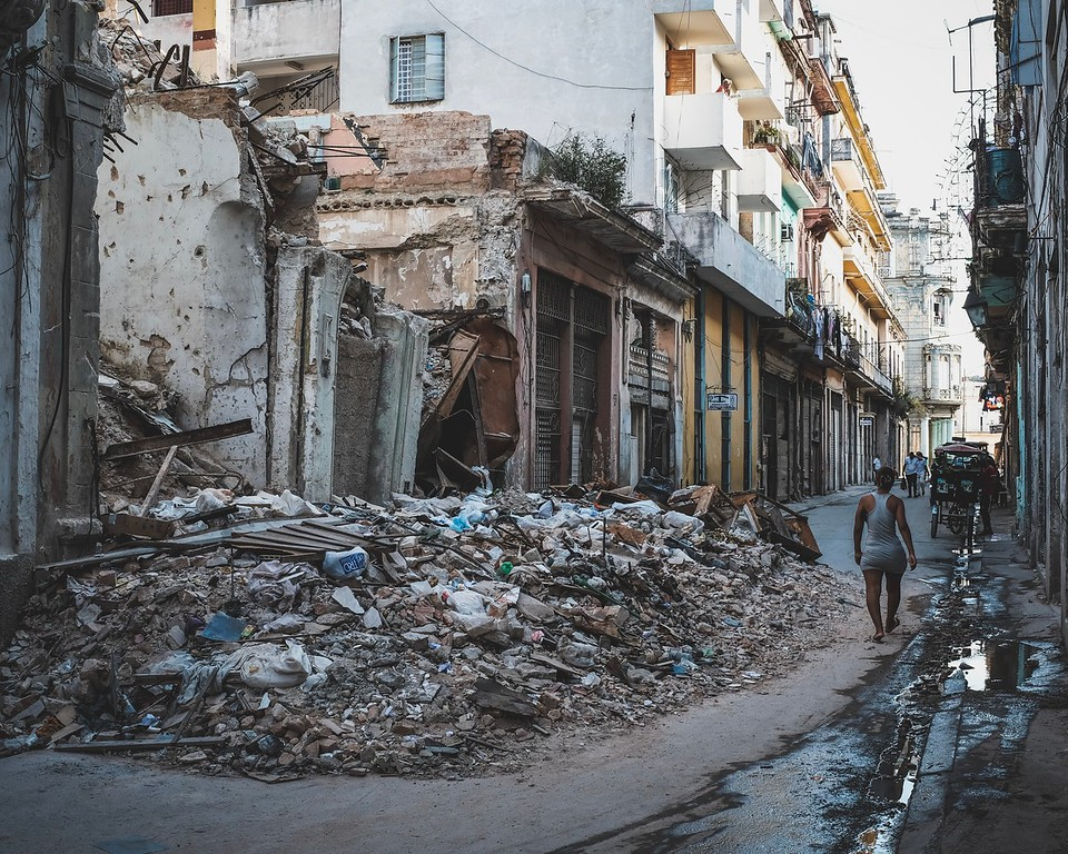 A building crumbled right onto the street in Old Town Havana