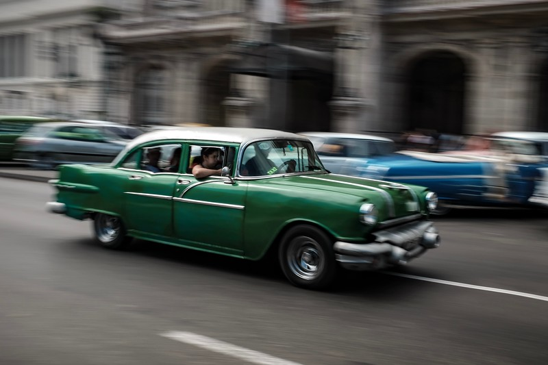 A Cuban taxi transports people to their destination in Havana.