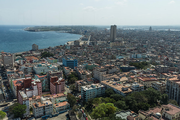 View of central Cuba with the harbor and old town in the distance