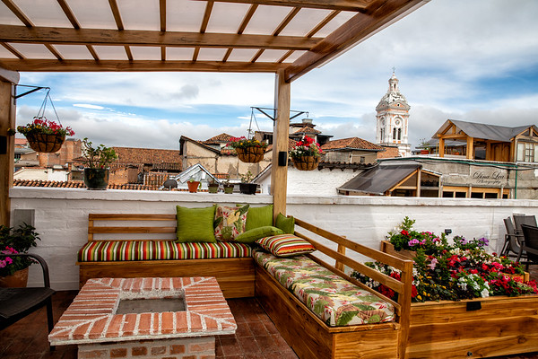 There were recent improvements made to this rooftop, adding more flowers and two fire pits.